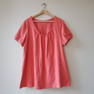 Woman Within Ruffled Pink Blouse Shirt 1X 22-24